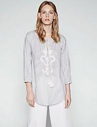 Damen Gestreift Einfach Lässig/Alltäglich T-shirt,Rundhalsausschnitt Frühling Langarm Grau Baumwolle Dünn