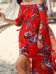 depuis sexy / robe boho swing floral femmes, col bateau maxi polyester