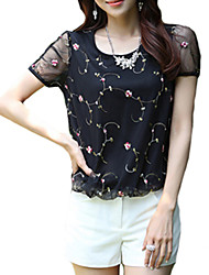 Women's Going out Simple / Street chic Blouse,Patchwork Round Neck Short Sleeve White / Black Rayon Thin