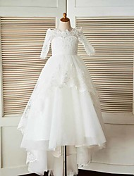 2017 A-line Sweep / Brush Train Flower Girl Dress - Lace / Tulle Half Sleeve Bateau with Appliques / Beading