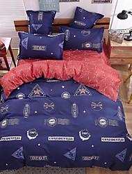 bedtoppings cachecol 4pcs duvet cover quilt definir o tamanho da rainha folha fronha plana cópias azuis vermelhas microfibra