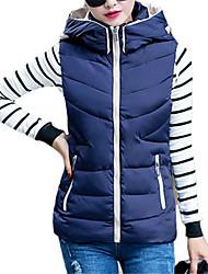 Women's Color Block Blue / Red / Beige / Black Padded Coat,Simple / Cute Hooded Sleeveless