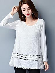 Damen Solide Einfach Übergröße T-shirt,Rundhalsausschnitt Herbst Langarm Blau / Weiß / Schwarz Polyester Mittel