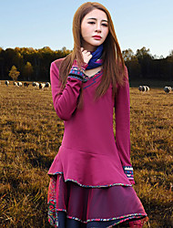 Tee-shirt Aux femmes,Broderie Sortie Vintage Printemps / Automne Manches Longues Coeur Rose Rayonne / Polyester / Spandex Moyen