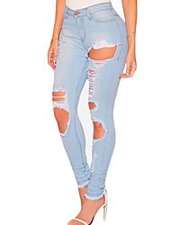 Women's Destroyed Frayed Hem Skinny Jeans