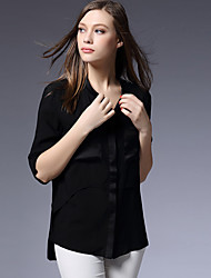 AJIDUO® Feminino Colarinho Chinês Manga Comprida Shirt & Blusa Preta / Branco-A9325
