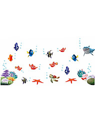 Wall Stickers Wall Decals Style Underwater World Cartoon Bubble Fish PVC Wall Stickers