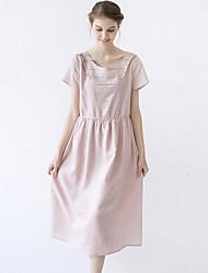 las mujeres idilio isla de salir / casual / diario lindo dresssolid una línea de cuello redondo de manga corta de color rosa midi ropa de verano