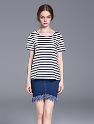 frmz Frauen Casual / Tages einfach Sommer t-shirtstriped Rundhals Kurzarm weiß
