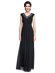 LAN TING BRIDE Sheath / Column Mother of the Bride Dress - Elegant Floor-length Sleeveless Chiffon with Lace