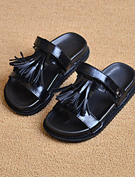 Unisex Slippers & Flip-Flops Summer Slippers / Open Toe Leather Casual Flat Heel Others Black / White Others