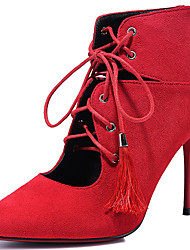 Women's Boots Spring / Summer / Fall Heels Fur Party & Evening / Casual Stiletto Heel Lace-up Black / Red