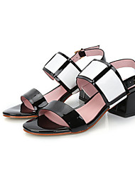 Damen-High Heels-Lässig-Leder-Blockabsatz-Komfort-Schwarz Weiß