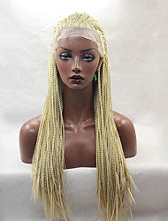 Fashion Long Straight Braids Synthetic Lace Front Wig Glueless Blonde Color Women Wigs