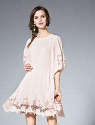 jojo hans Frauen anspruchsvolle Mantel um den Hals über Knielänge Hülse pink / weiß dresssolid Ausgehen