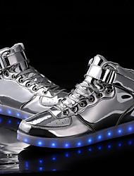 Unisex-Sneaker-Outddor Lässig Sportlich-Kunststoff-Flacher Absatz-Komfort Modische Stiefel Light Up Schuhe-Silber Gold