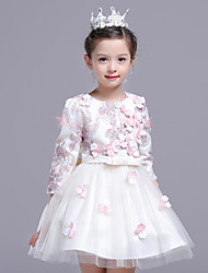 A-line Knee-length Flower Girl Dress - Polyester Satin Tulle Jewel with Embroidery Flower(s)