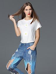 случайные / сут простой летом T-shirtsolid шею с коротким рукавом frmz женщин белый / черный