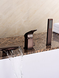 European Style Tub Waterfall/ Handshower  oil-rubbed bronze Three Holes Bathtub Faucet