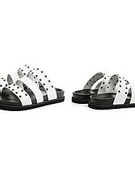 Men's Slippers & Flip-Flops Summer Comfort PU Outdoor Flat Heel Studded White Black