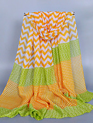 Women's Fashion Voile Geometry Stripe Cotton Scarf Yellow/Red/Green/Blue/Black/Gray/Pink/Navy Blue