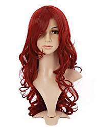 Beauty Wavy Burgundy Wigs Synthetic Lolita Wig Heat Resistant Costume Wine Red Wig Long Curly Hair