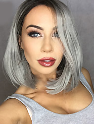 2016 New Grey Ombre hair Black to gray Synthetic Lace Front Wigs Bob wigs