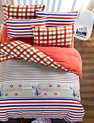 bedtoppings couette couverture couette couette 4pcs définir la taille de reine plat drap taie chèque de bande motif imprime microfibre
