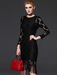 FRMZ  Women's Formal Simple Sheath DressSolid Crew Neck Knee-length Long Sleeve Black