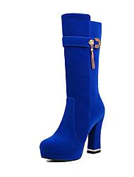 Feminino-Botas-Botas da Moda-Salto Grosso-Preto / Vermelho / Azul Real-Couro Ecológico-Casual