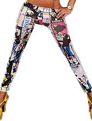 Women's Print White Skinny Pants,Street chic