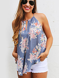 Women's Casual/Daily Sophisticated Summer T-shirtFloral Halter Sleeveless Blue Polyester Opaque