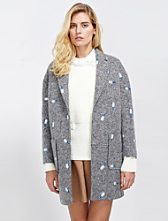 C+IMPRESS Women's Going out Street chic CoatEmbroidered Peaked Lapel Long Sleeve Winter Gray Wool / Acrylic / Polyester Thick