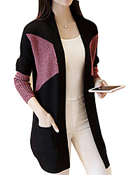 Women's Casual/Daily Simple Long CardiganColor Block Cowl Long Sleeve Acrylic Fall / Winter Thick