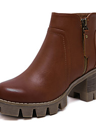 Women's Boots Fall / Winter Fashion Boots / Bootie / Combat Boots / Round Toe Side Zipper Chunky Heel Booties