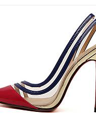 Damen-High Heels-Lässig-PU-Stöckelabsatz-Absätze-Rot / Gold