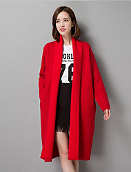 Women's Casual/Daily / Party/Cocktail / Holiday Simple Fur CoatGeometric Asymmetrical Long Sleeve Winter Red