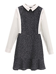 Fall Winter Women's Casual Going out Plus Size A Line Dresses Solid Color Splicing Peter Pan Collar Long Sleeve Dress