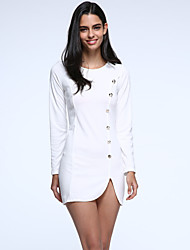 Women's Buttons Design Solid color Slim Mini Dress ,Long Sleeve Plus Size
