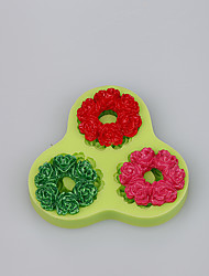 3 Cavity custom silicone molds beautiful wreath shape fondant cake mold decoration tools baking ware