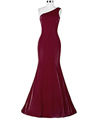 Formal Evening Dress Trumpet / Mermaid One Shoulder Sweep / Brush Train Satin with Tassel(s)