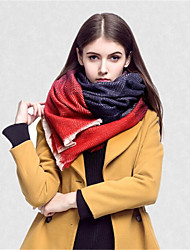 Women Vintage Casual Rectangle Stitching Color Dot Printing Warm Cashmere Fringed Shawl Scarf
