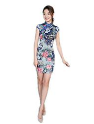 One-Piece Short Sleeve Medium Length Blue Lolita Dress Polyester