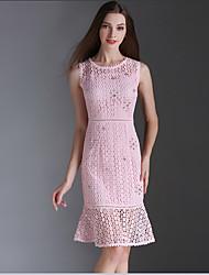 Eosciy® Damen Rundhalsausschnitt Ärmellos Knielänge Kleid-70903