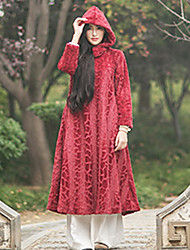 Ramie Cotton Women's Casual/Daily Vintage A Line DressSolid Hooded Midi Long Sleeve Others Fall