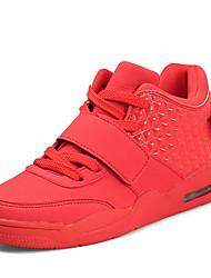 Femme-Extérieure / Décontracté / Sport-Noir / Rouge / Blanc-Talon Plat-Confort-Sneakers-Cuir