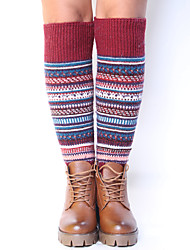 Women's Winter Knitting Warm National Wind Wool Striped Leg Warmers