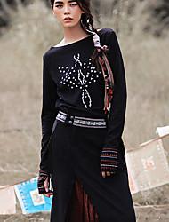Aporia.As® Femme Col Arrondi Manche Longues Pull & Cardigan Noir-MZ03001