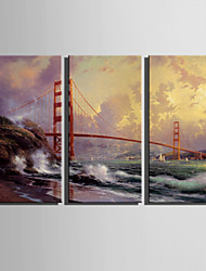 E-HOME® Stretched Canvas Art Red Bridge Decoration Painting  Set of 3