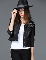 FRMZ Women's Going out Street chic Fall Denim JacketsSolid Shirt Collar  Sleeve Black Cotton Medium